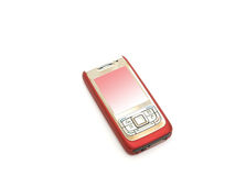 Red cell phone. Isolated on white background royalty free stock image