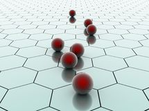 Red ceramic balls on hexagonal surface Royalty Free Stock Photography