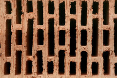 Red ceramic brick with holes Stock Images
