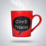 Red ceramic cup with good morning sign or title made with chalk. Stock Photography