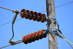 Red ceramic insulators Stock Photography