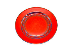 Red ceramic plate isolated on white Stock Photography