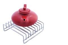 Red ceramic teapot Royalty Free Stock Photos