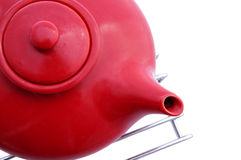 Red ceramic teapot Stock Images
