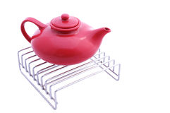 Red ceramic teapot Royalty Free Stock Images