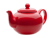 Red Ceramic Teapot. Isolated on white with a clipping path. The image is in full focus, front to back Royalty Free Stock Image