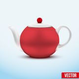 Red ceramic teapot. Vector illustration. Royalty Free Stock Photos