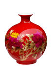 Red ceramic vase Royalty Free Stock Images