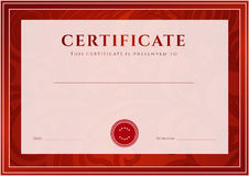 Red Certificate, Diploma template. Award pattern. Certificate, Diploma of completion (design template, background). Floral (scroll, swirl) pattern (watermark) Royalty Free Stock Photography