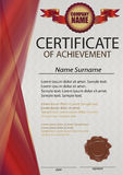 Red certificate or diploma template with wax seal. Red vertical Royalty Free Stock Photos