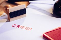 Red certified rubber stamp royalty free stock photos