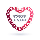 Red chain heart. Strong love symbol. Stock Photography