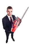 Red chainsaw businessman Stock Images