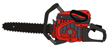 Red chainsaw. Hand drawing of a black and red chainsaw Royalty Free Stock Image