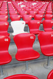 Red Chair. A white chair in middle of red chairs Royalty Free Stock Image