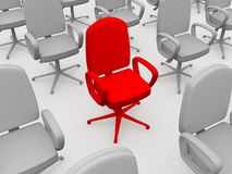 Red chair. Of the leader Stock Photography