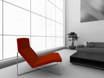 Red chair. Modern black and white interior with stylish red chair. High quality 3d illustration Stock Image