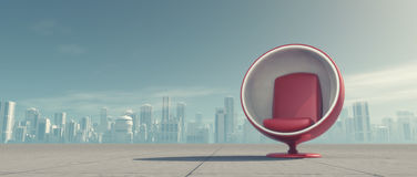 A red chair. On background city. This is a 3d render illustration Royalty Free Stock Photography