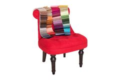 Red chair in Baroque style and color samples of fabrics Stock Images