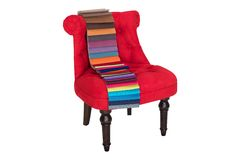 Red chair in Baroque style and color samples of fabrics Stock Photos