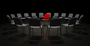 Red Chair in the center of attention Stock Images