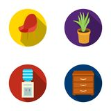 A red chair with a comfortable back, an aloe flower in a pot, an apparatus with clean water, a cabinet for office papers. Office Furniture set collection icons Royalty Free Stock Photo