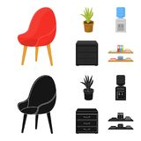 A red chair with a comfortable back, an aloe flower in a pot, an apparatus with clean water, a cabinet for office papers. Office Furniture set collection icons Stock Photos