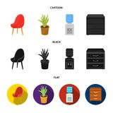A red chair with a comfortable back, an aloe flower in a pot, an apparatus with clean water, a cabinet for office papers. Office Furniture set collection icons Stock Images
