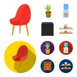A red chair with a comfortable back, an aloe flower in a pot, an apparatus with clean water, a cabinet for office papers. Office Furniture set collection icons Stock Photo