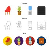 A red chair with a comfortable back, an aloe flower in a pot, an apparatus with clean water, a cabinet for office papers. Office Furniture set collection icons Stock Photography
