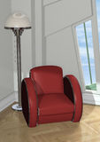Red Chair. 3D digital render of a red chair standing near the lamp in a coner of a modern room Royalty Free Stock Photo