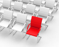 The red chair. 3d generated picture of a red chair in a crowd of white Royalty Free Stock Image