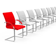 The red chair. 3d generated picture of a red chair in a row of white stock illustration