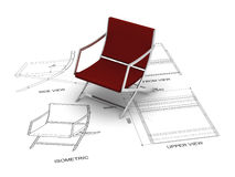 Red chair design. With drawing Royalty Free Stock Photography