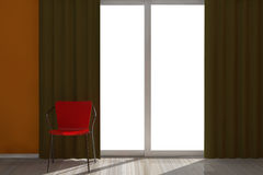 Red Chair in Empty Room with Window Royalty Free Stock Photo