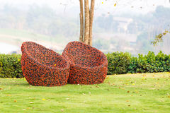 Red Chair in garden Royalty Free Stock Photography