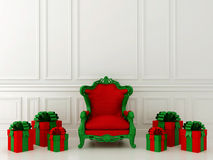 Red chair with gifts Royalty Free Stock Photography