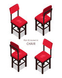 Red Chair Illustration in Isometric Projection Stock Images