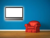 The red chair with lcd tv. In minimalist interior Stock Photos