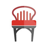 Red chair with lined back isolated on white. Vector colorful graphic illustration in flat design of comfortable place for sitting with one bright part and Royalty Free Stock Images