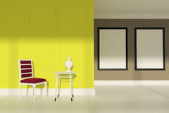 Red chair living room, two posters, yellow Stock Photos