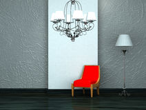Red chair with luxury chandelier and stand lamp. In interior Stock Images