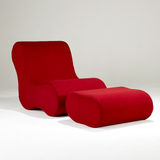 Red chair and ottoman Royalty Free Stock Image