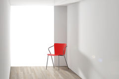Red Chair in the Room with Sunlight. 3d Rendering Stock Image