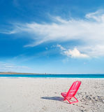 Red chair by the sea Royalty Free Stock Photography