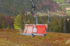 Red chair ski lift Royalty Free Stock Photography