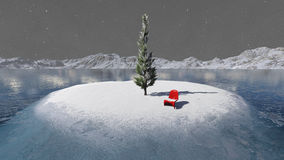 Red chair snow. Red chair central island surrounded by pine trees, snow and cold lake water Royalty Free Stock Photography