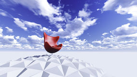 Red chair. On a sphere surrounded by sky. And empty space Royalty Free Stock Photography