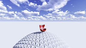 Red chair. On a sphere surrounded by sky. And empty space Royalty Free Stock Image