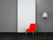 Red chair with stand lamp Stock Photography